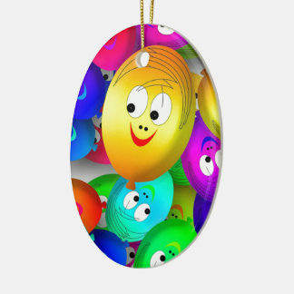 Smiley Balloons Ceramic Ornament