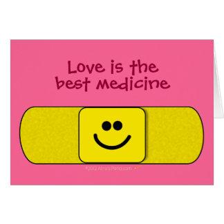 Smiley Bandaid Love Best Medicine Nurse Thank You Card