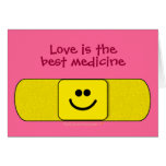Smiley Bandaid Love Best Medicine Nurse Thank You Greeting Card