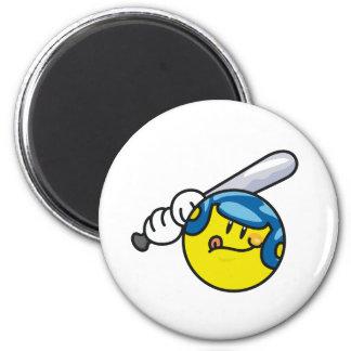 Smiley Baseball Refrigerator Magnet