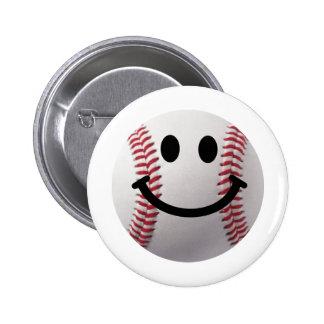 smiley baseball pinback button