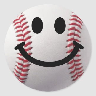 smiley baseball round stickers