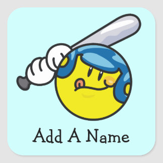 Smiley Baseball T-shirts and Gifts Square Sticker