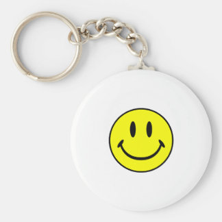 Smiley Basic Round Button Keychain