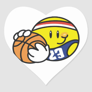 Smiley Basketball Tshirts and Gifts Heart Sticker