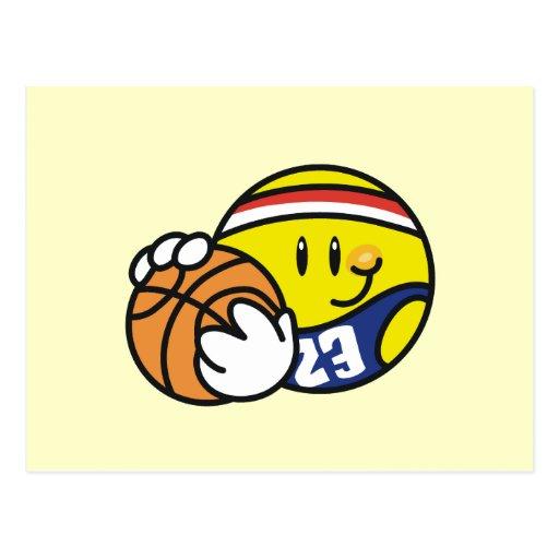 Smiley Basketball Tshirts and Gifts Postcards