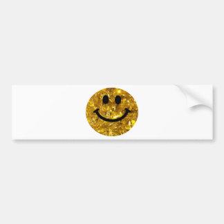 Smiley brillante de Bling del oro Pegatina Para Auto