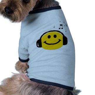 Smiley cariñoso de la música camiseta de mascota