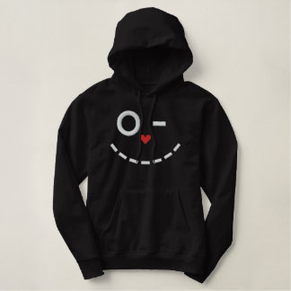 Smiley Cat Face Embroidered Hoodie