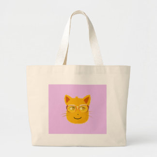 Smiley Cat wearing sunglass with violet background Canvas Bag