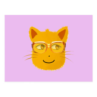 Smiley Cat wearing sunglass with violet background Postcard