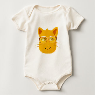 Smiley Cat with sunglass Baby Bodysuit
