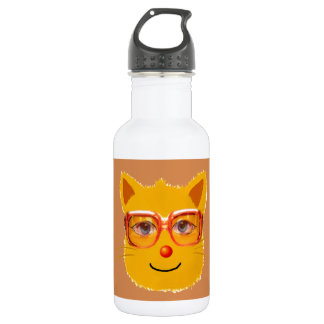 Smiley Cat with sunglass Stainless Steel Water Bottle