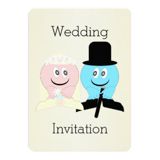 Smiley Champagne Wedding 5x7 Paper Invitation Card