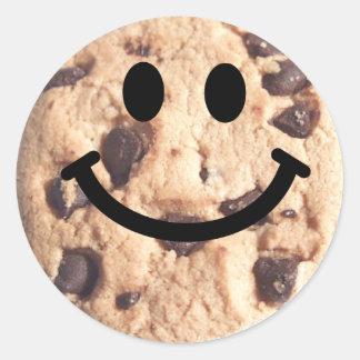 Smiley Chocolate Chip Cookie Classic Round Sticker