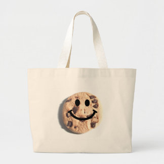 Smiley Chocolate Chip Cookie Large Tote Bag