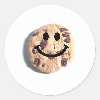 Smiley Chocolate Chip Cookie Round Sticker