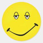Smiley cocido pegatina redonda