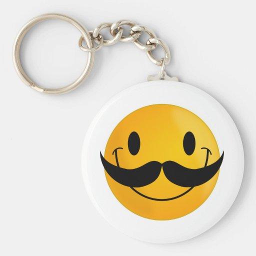 Smiley con el bigote llavero