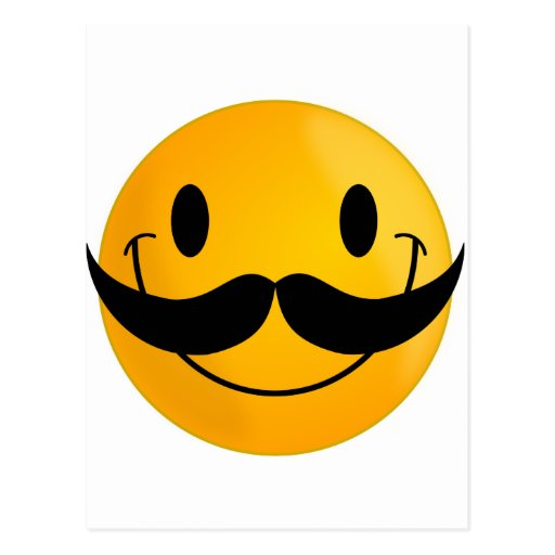 Smiley con el bigote tarjetas postales