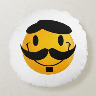 Smiley con el dibujo animado del bigote cojín redondo