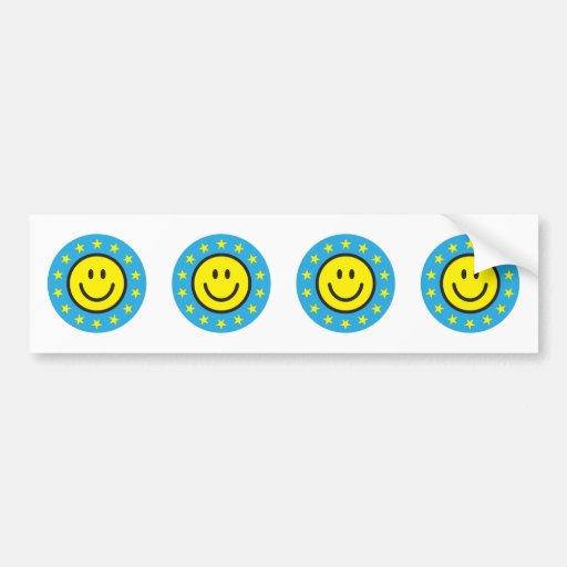 Smiley con las estrellas del amarillo - azul pegatina para auto