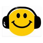 Smiley con los auriculares postal