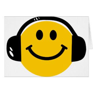 Smiley con los auriculares tarjetón