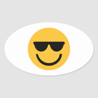 Smiley cool sunglasses oval sticker