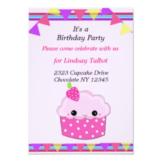 Smiley Cupcake Birthday Party Card
