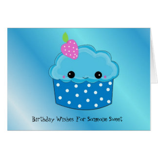 Smiley Cupcake Birthday Wishes Card