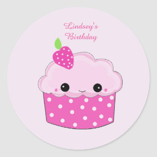 Smiley Cupcake Personalized Birthday Classic Round Sticker