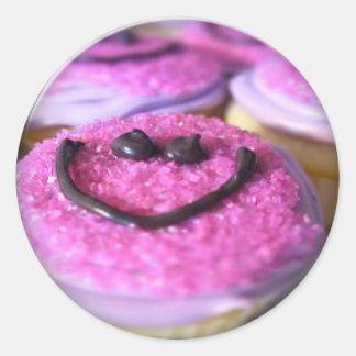 smiley cupcake sticker