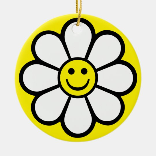 Smiley Daisy Ceramic Ornament