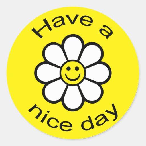 Smiley Daisy Classic Round Sticker