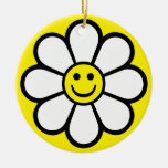 Smiley Daisy Double-Sided Ceramic Round Christmas Ornament