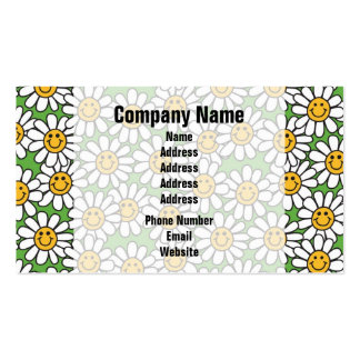 Smiley Daisy Flowers Pattern Business Card Template