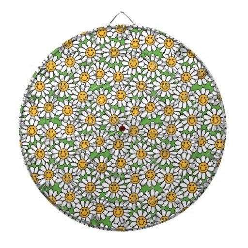 Smiley Daisy Flowers Pattern Dartboard