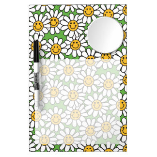Smiley Daisy Flowers Pattern Dry Erase Board With Mirror