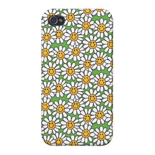 Smiley Daisy Flowers Pattern iPhone 4 Covers