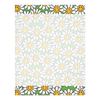 Smiley Daisy Flowers Pattern Letterhead
