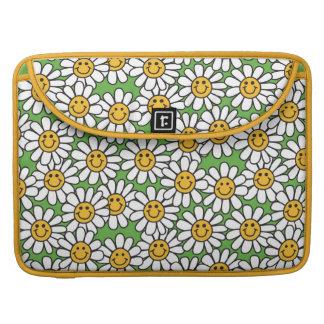Smiley Daisy Flowers Pattern MacBook Pro Sleeves