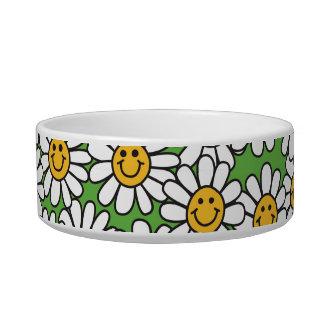 Smiley Daisy Flowers Pattern Pet Food Bowl