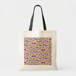 Smiley Daisy Flowers Pattern Pink Yellow Budget Tote Bag