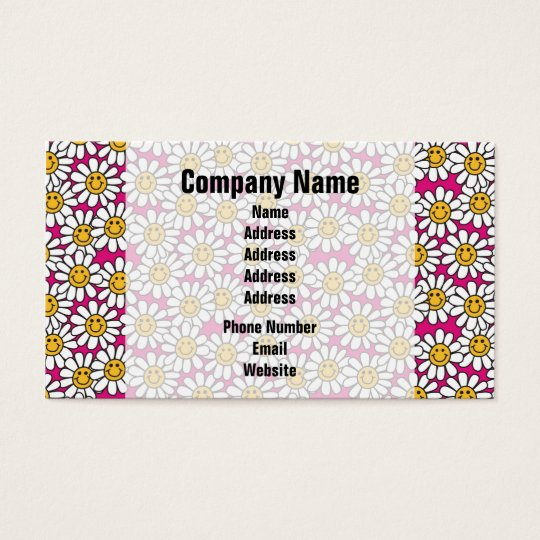 Smiley Daisy Flowers Pattern Pink Yellow Business Card