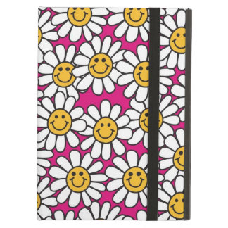 Smiley Daisy Flowers Pattern Pink Yellow Cover For iPad Air