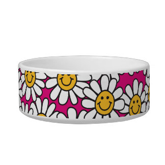Smiley Daisy Flowers Pattern Pink Yellow Pet Water Bowls
