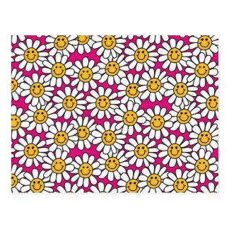 Smiley Daisy Flowers Pattern Pink Yellow Postcard