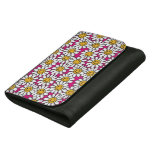 Smiley Daisy Flowers Pattern Pink Yellow Leather Wallets