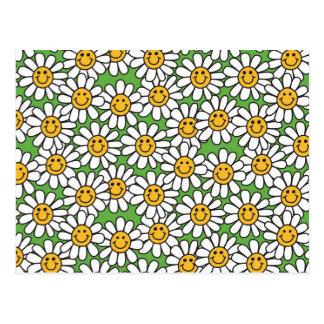 Smiley Daisy Flowers Pattern Postcard